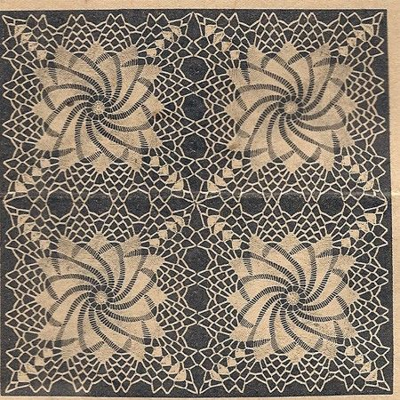 Free Crochet Patterns Doily Square : Crochet Pinwheel Doily Square PDF Pattern Tablecloths Mail ...