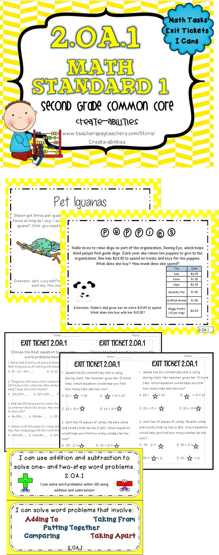 2nd grade OA 1: addition and subtraction word problems. Math tasks ...