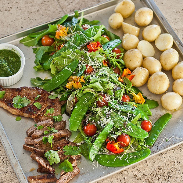 ... Chimichurri, New Potatoes & Crunch Salad, a complete and filling meal