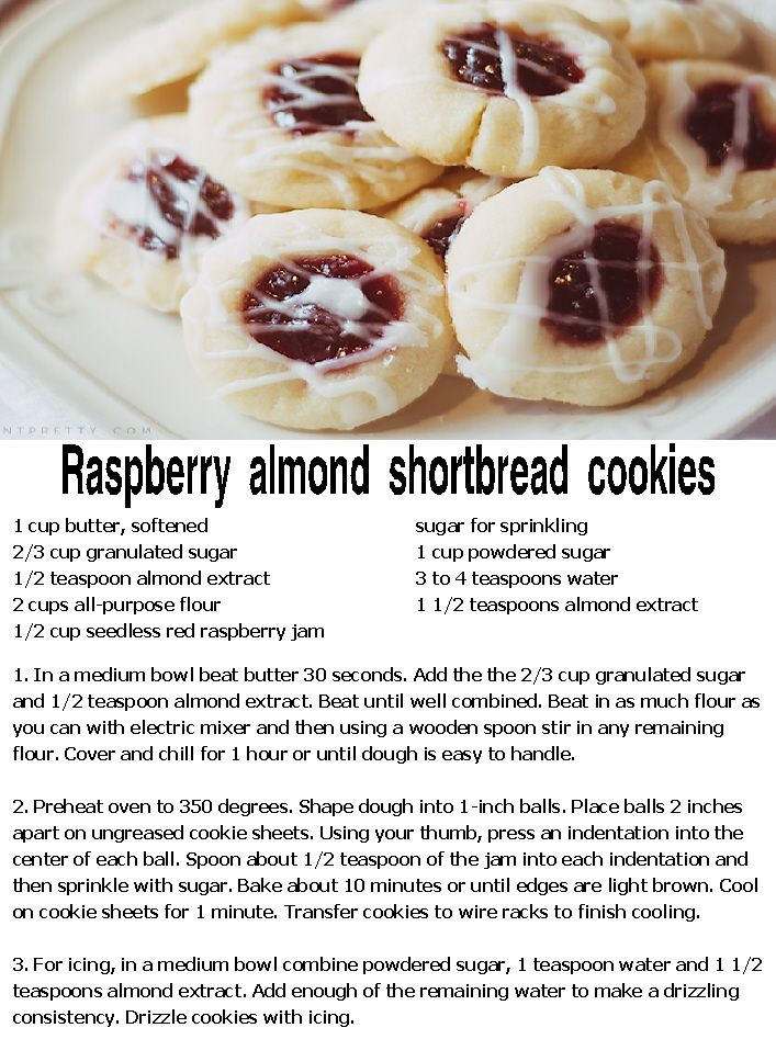 Raspberry almond shortbread cookies | Delicious Food & Recipes | Pint ...