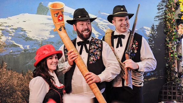 Switzerland- Leanne, Bert and Adam play dress up in traditional Swiss attire while visiting the village of Wengen.
