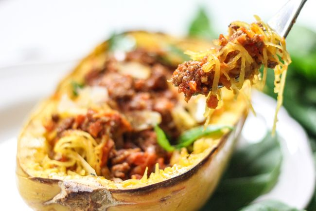 Spaghetti Squash with Easy Meat Sauce | Yangyum | Pinterest