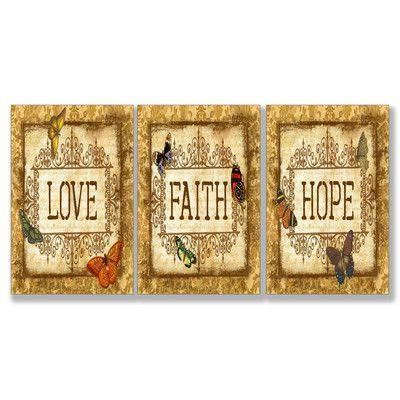 Home d cor love faith hope 3 piece textual art set for Faith decor