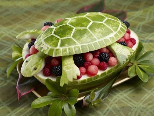 Watermelon carved to look like a turtle