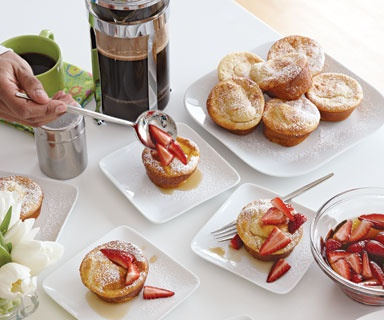 Fine Cooking's Pancake Soufflé Muffins with Strawberry-Maple Syrup ...