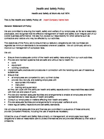 Sample Health And Safety Policy safety policy essay academic - sample health and safety policy