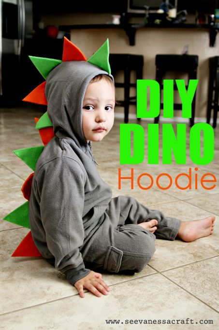 Diy Dino Hoodie - Simple Halloween craft. Upcycle an old hoodie for this DIY Halloween costume. #favecrafts