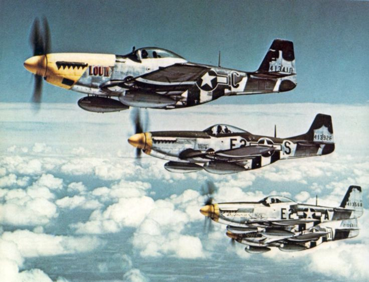 P-51 Mustangs of the 375th Fighter Squadron, 361st Fighter Group, Eighth Air Force, mid-1944.