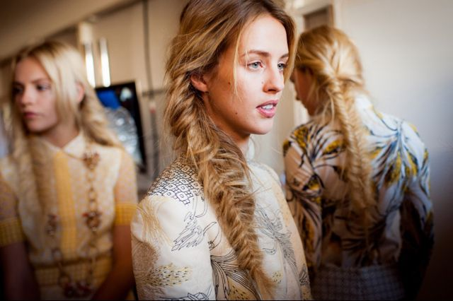 messy fishtail braids at the Tory Burch Spring 2013 show