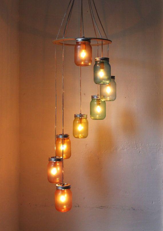 Mason Jar Chandelier  Mason Jar Lighting  Rainbow by BootsNGus