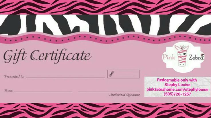 Gift certificate : Pink zebra : Pinterest