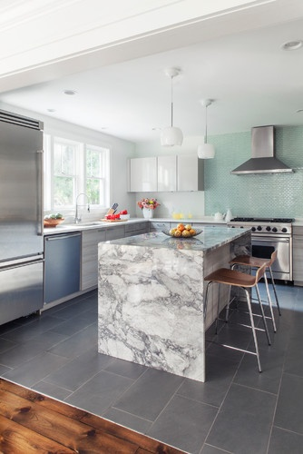 off marble island and the tempered glass tile backsplash kitchen