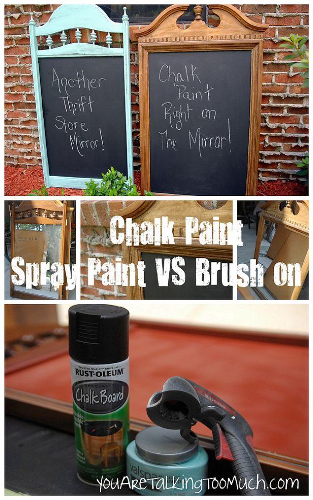 spray paint vs brush paint chalkboards. Black Bedroom Furniture Sets. Home Design Ideas
