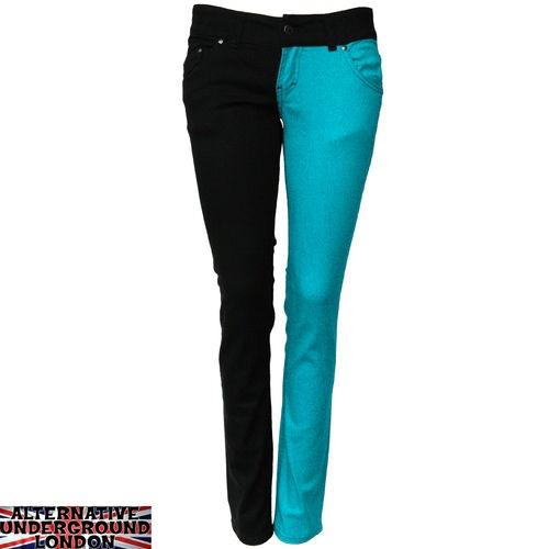 Skinny stretch jeans black and aqua split leg pants punk glam disco