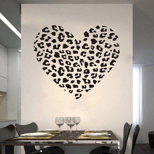 Cheetah Spot Print Heart Wall Art Decal Sticker Decor Mural DIY Vinyl ...