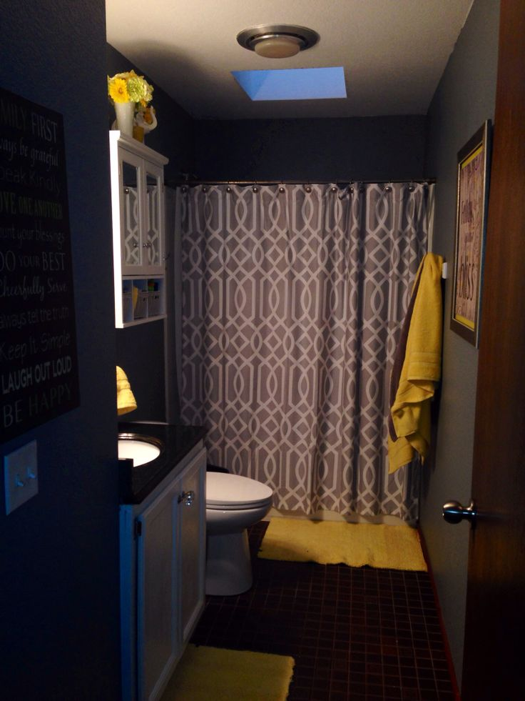 My gray and yellow bathroom bathrooms pinterest - Bathroom yellow and gray ...