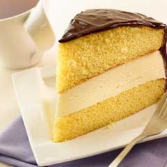 Boston Ice Cream Pie...1 box yellow cake mix, 1/2 container of 1.5qt ...