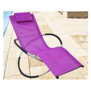 New moon style rocker purple textiline chair sun lounger folding patio