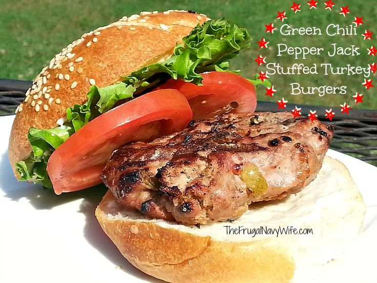 These Green Chili Pepper Jack Stuffed Turkey Burgers are perfect for ...