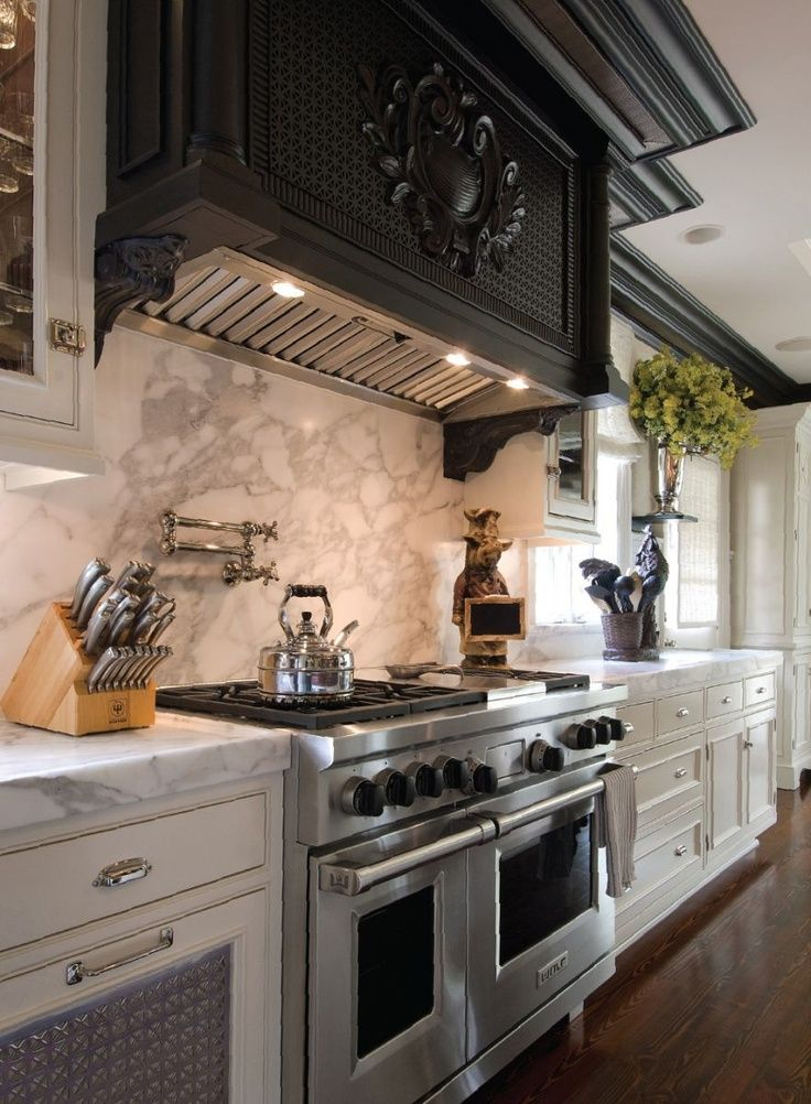 Wolf Countertop Oven Vancouver : Kitchen with marble countertop and backsplash, plus six burner Wolf ...