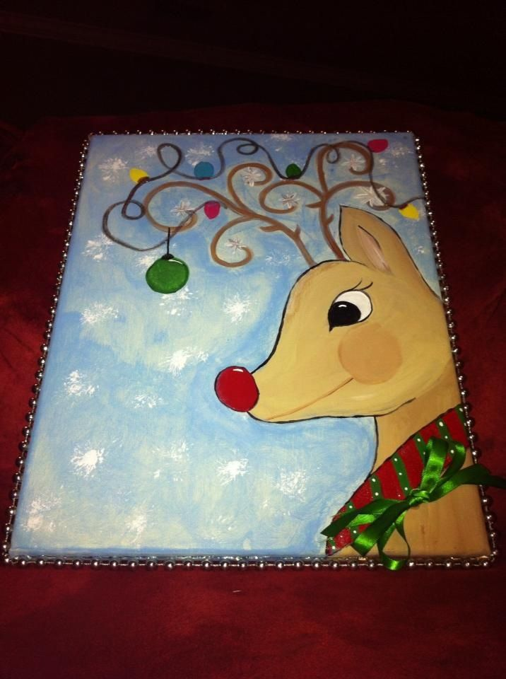 Painted christmas reindeer on canvas paintings pinterest for Christmas canvas painting ideas