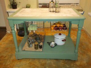 Add a base turn a kitchen table into a kitchen island great idea