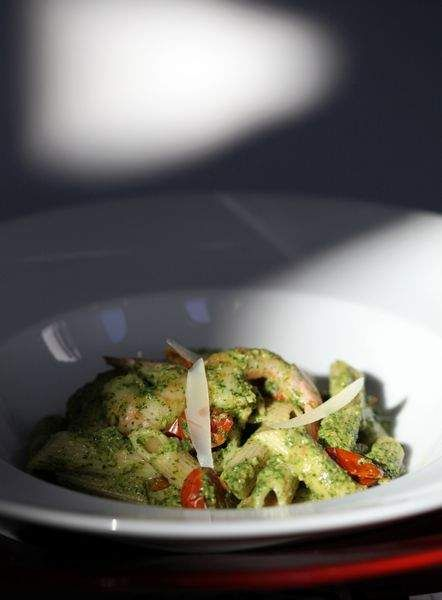 Heart Smart recipe: Pasta with Shrimp and Kale Pesto. AKA dinner. Yum.