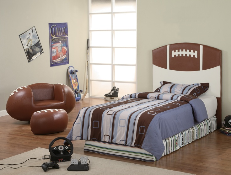 Sports Themed Bedroom Accessories Sports Headboard Chair Ottoman Set Football Baseball Basketball