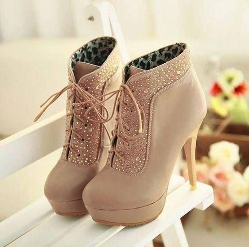 Tan short high heel boots