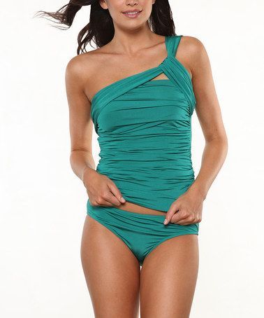Emerald Asymmetrical Tankini by 1 Sol Swim on #zulily