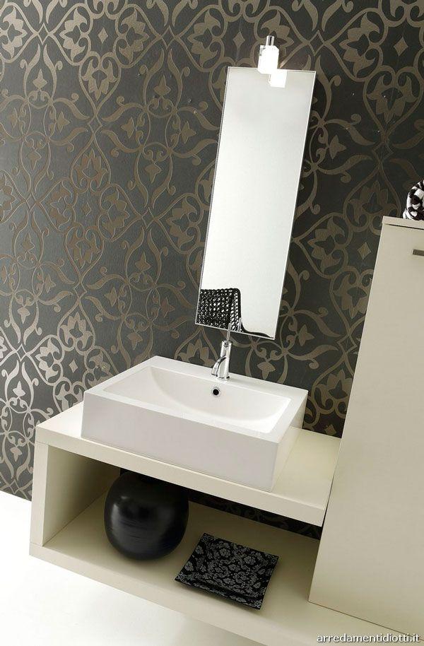 bathroom with wall wallpaper bath rooms pinterest