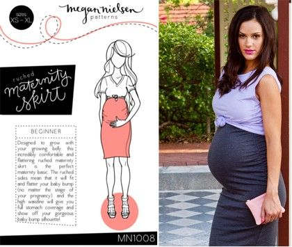Megan nielsen sewing pattern ruched maternity skirt size xs xl