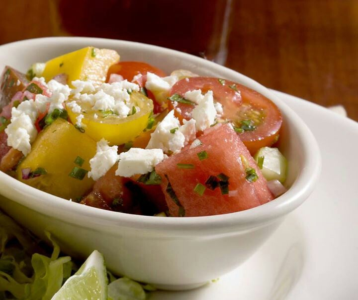 Water melon, heirloom tomatoes and feta salad