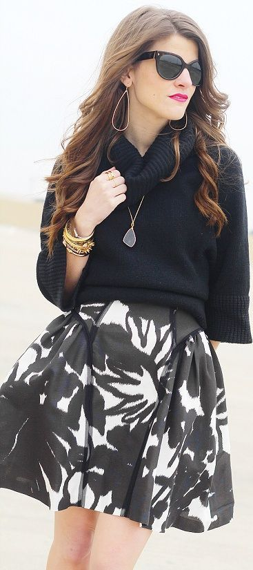 Black neck sweater,black and white combination skirt