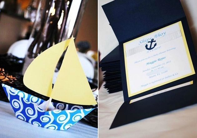 cute boat decorations think they were used as place cards the invite
