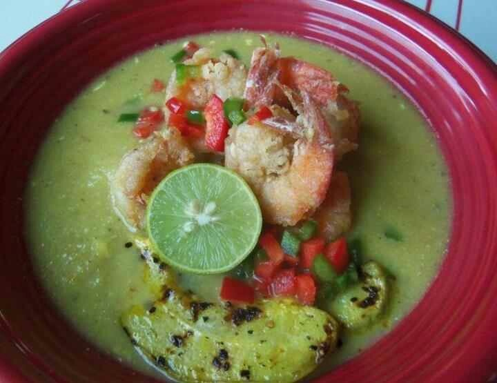 Roasted Tomatillo- Chayote Soup With Jumbo Shrimp ~Good Appetite~