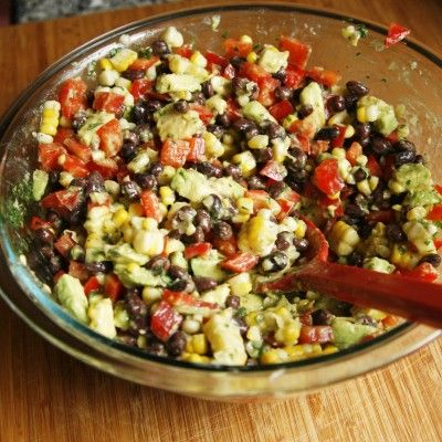 Creamy Black Bean, Red Pepper and Corn Salad with Avocado and Cilantr ...