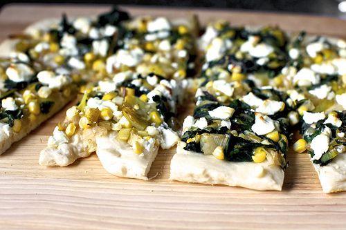 leek, corn and chard flatbread by smitten kitchen