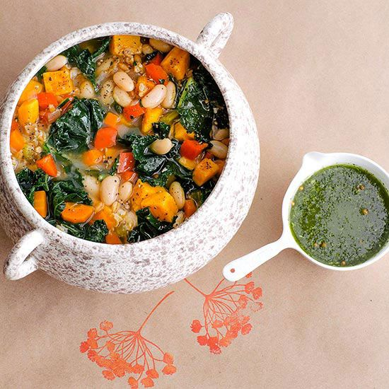 White Bean Vegetable and Farro Soup | So Much Soup | Pinterest