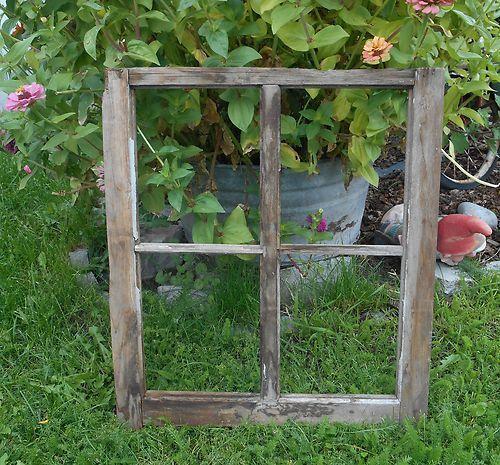 Antique 4 Pane Old Wooden Window Sash Frame Shabby Primitive