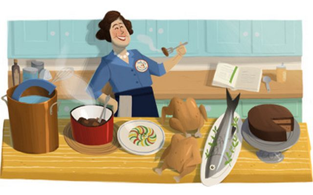 Google made a Doodle of Julia Child in honor of what would have been her 100th birthday!