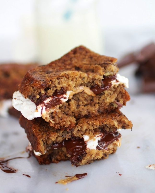 Grilled Banana Bread Peanut Butter S'mores...woah #treatyoself