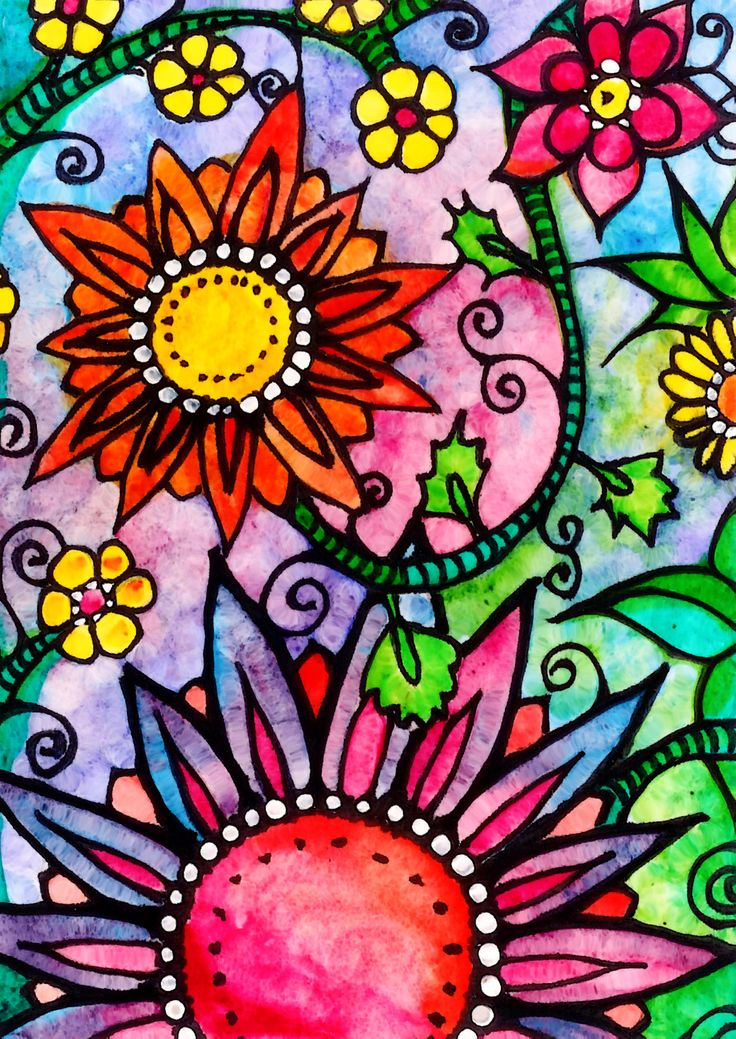 Dazzling / by Robin Mead - colorful flowers drawing ...