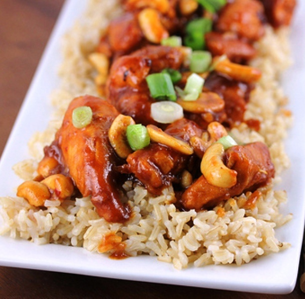 Slow Cooker Chicken with Cashews - sub tofu or shrimp for chicken