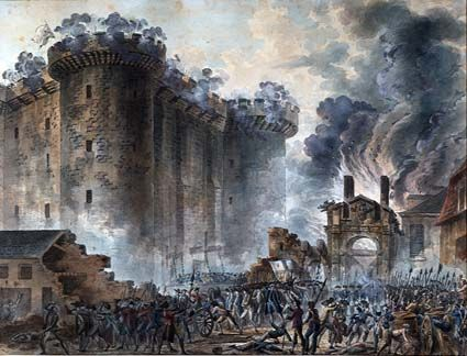 July 14, 1789 – French Revolution: citizens of Paris storm the Bastille (Painting).
