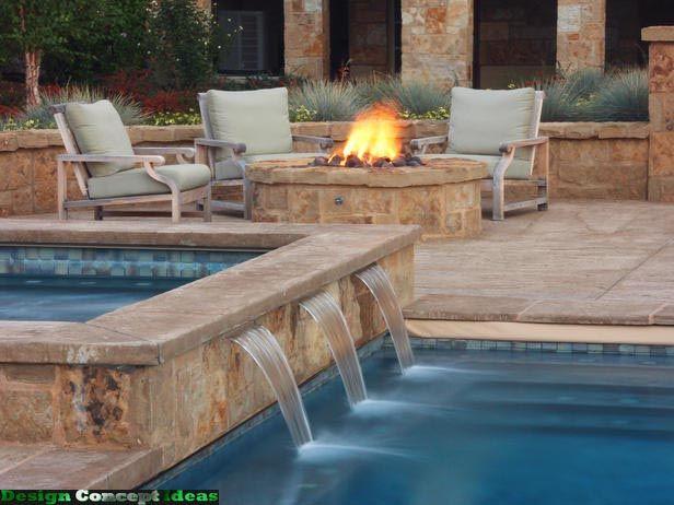 Backyard With Pool And Firepit :  contentuploads201104firepitwaterfeaturemixfireandwaterjpg