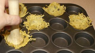 Frico - Italian Parmesan Cheese Crisps - cooked in muffin tin to make baskets to hold appetizers