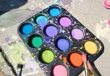 homemade sidewalk paints = fun!