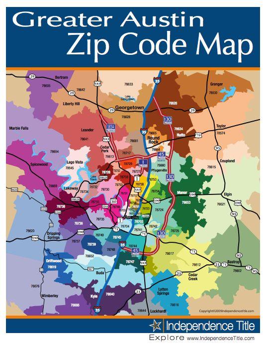 Greater austin zip code map austin texas i love you pinterest
