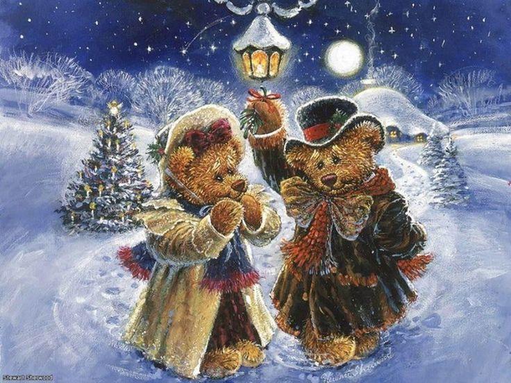 Стюарт Шервуд художника ~ плюшевого мишку пару под омелой в лунные снежный пейзаж зимой ~ ~ Рождество